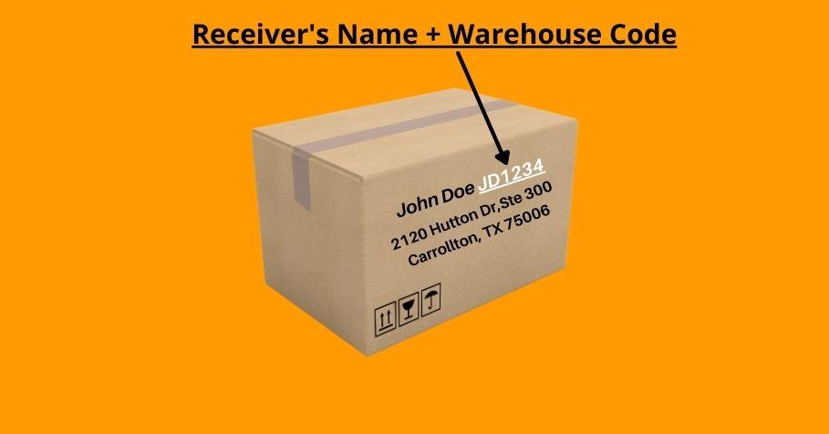 Receiver name + warehouse code